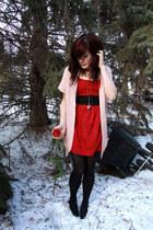 ruby red dress - light pink cardigan - black belt
