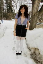 white tights - black H&M skirt - blue vintage top