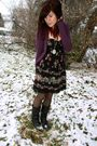Black-f21-dress-purple-h-m-cardigan