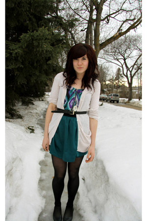 teal skirt - teal top - cream cardigan