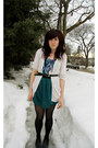 Teal-skirt-teal-top-cream-cardigan