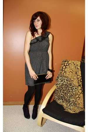 charcoal gray f21 dress - deep purple payless boots