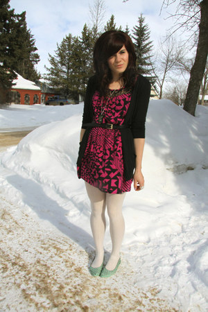 teal Ardene shoes - hot pink f21 dress - white H&M tights - black Jacob cardigan