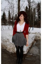 red sweater - black striped skirt - white top