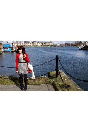 black winners boots - heather gray f21 dress - red  jacket