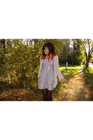 purple Urban Outfitters dress - silver Dynamite cardigan - H & M tights