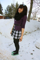 turquoise blue shoes - white checkered dress - purple cardigan