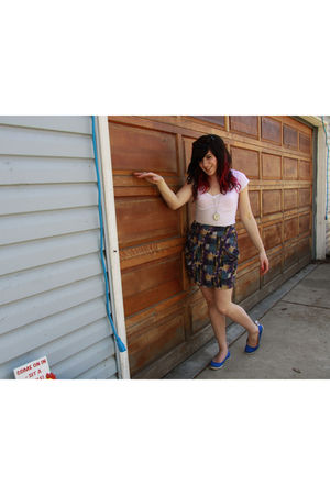 white Forever 21 shirt - purple Forever 21 skirt - blue Keds shoes
