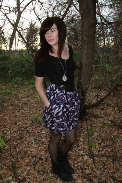 purple f21 skirt - black American Apparel top - polka dots tights