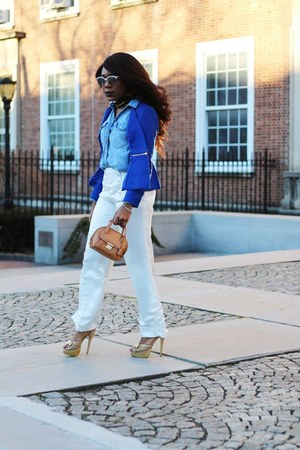blue Club Monaco blazer - gold Charlotte Olympia shoes - sky blue JCrew shirt