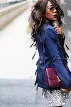 navy lavish alice blazer - maroon Celine bag - white balenciaga sunglasses