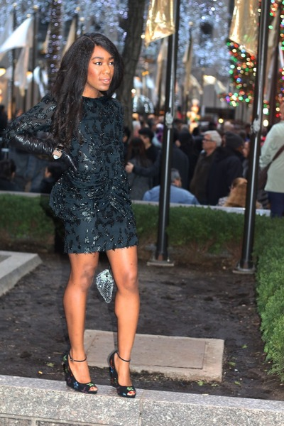 black H&M dress - silver Giorgio Armani purse - black Giuseppe Zanotti wedges