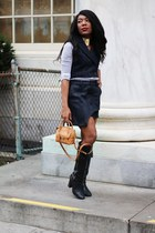 black coach boots - blue Zara shirt - camel Salvatore Ferragamo bag