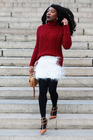 brick red Zara sweater - bronze Valentino shoes - camel Salvatore Ferragamo bag