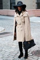 beige White House Black Market coat - black stuart weitzman boots