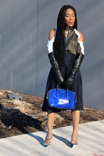 Boohoo jacket - La Perla tights - Givenchy bag - dior pumps - Club Monaco skirt