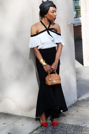 Zara blouse - Eugenia Kim hat - Salvatore Ferragamo bag - Zara pants