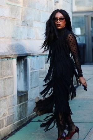 milly dress - asos tights - Gucci bag - Prada sunglasses - YAS bodysuit