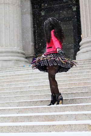 black MSGM skirt - black Sergio Rossi boots - hot pink JCrew jacket
