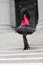 black MSGM skirt - black Sergio Rossi boots - hot pink JCrew jacket