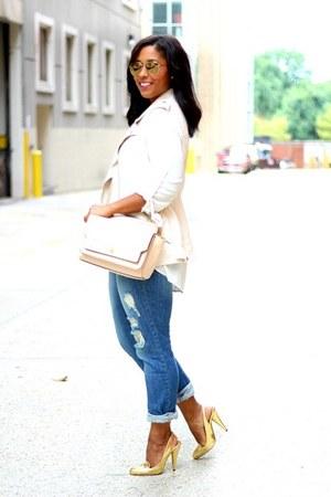 Forever 21 vest - ann taylor bag - Shoedazzle heels