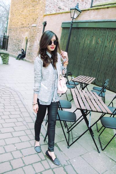 tweed warehouse jacket - lace warehouse shirt - Dolce & Gabbana bag - Zara flats