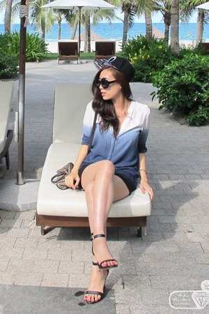 sky blue ombre Zara shirt - Guess bag - black satin BCBGeneration shorts