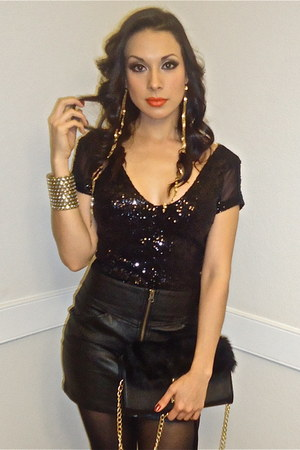 black sequins Bebe top - black leather skirt