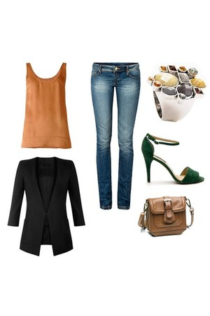 blue jeans - black blazer - brown bag - dark green heels - nude top