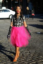hot pink tulle windsor skirt - bronze kitten Valentino shoes