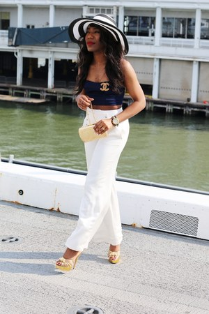 gold croissant Charlotte Olympia shoes - black wide brim H&M hat