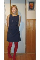 navy dress - red tights