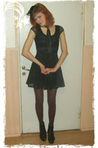 black hm dress - crimson hm tights - black hm accessories