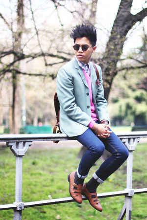 Zara jeans - asos shoes - Zara sweater - vintage blazer