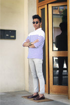 striped Muji t-shirt - ivory Zara pants