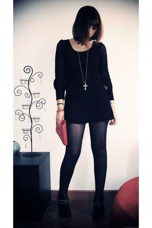 black Molly Bracken dress - black ANDRE shoes - red Aphrodisiak Leather bag - fa