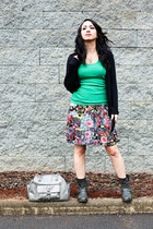 chartreuse shirt - silver boots - black cardigan - ruby red skirt