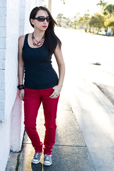 Red Skinny Jeans Jeans, Gray Tank Top Shirts, Heather Gray ...