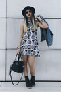 Brown-boots-sperry-boots-skater-dress-topshop-dress-top-hat-forever-21-hat