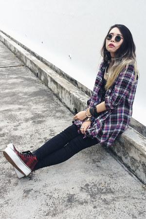 Topshop top - Topshop jeans - Grandchild store shirt - Vans sneakers