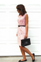 light pink lace vintage dress - black calvin klein purse - black Fossil belt