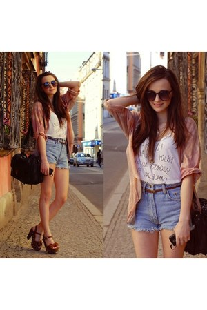 dark brown Sunglasses Hut glasses - Thrift Store shorts