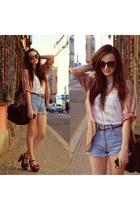Thrift Store shorts - brown thin Thrift Store belt