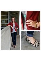 brick red blazer blazer - navy jeans jeans - heather gray tee t-shirt