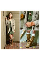 dark khaki cowboy boots - olive green tee shirt dress - ivory knee high socks