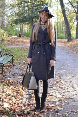 grey Promod coat - H&M hat - Passigatti scarf