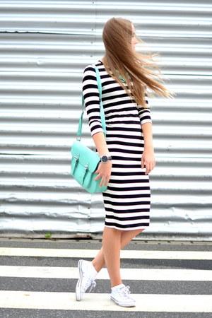 striped H&M dress - turquoise Deichmann bag - oozoo watch