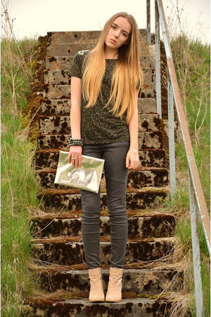 camouflage Zara shirt - glitter H&M boots - Levis jeans - silver H&M bag
