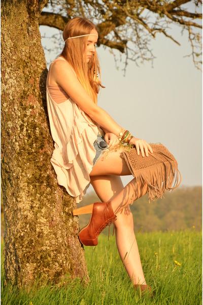 fringed Promod bag - brown Jeffrey Campbell shoes - pink H&M vest