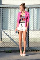 cropped TK Maxx top - pink H&M blazer - clutch thrifted vintage bag